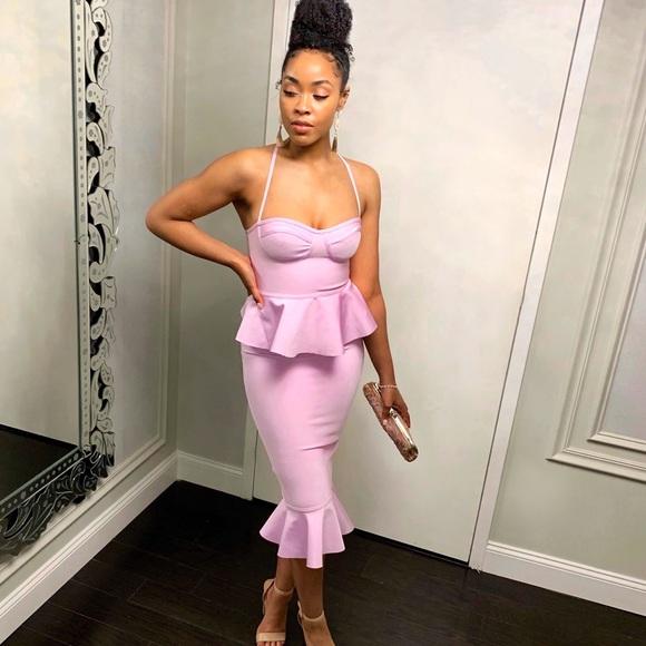 Missguided Dresses & Skirts - Premium lilac bandage bust cup peplum midi dress
